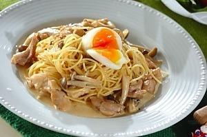 Спагетти с курятиной и грибным соусом