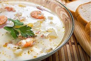 Суп из плавленных сырков с креветками