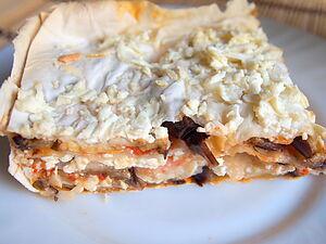 Слоеный пирог с лавашом и баклажанами