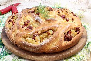 Пирог «Лодочки» с картофелем и ветчиной
