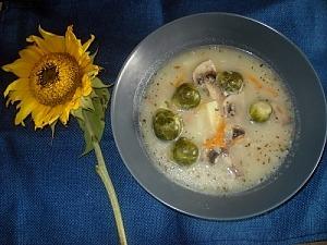 Суп с брюссельской капустой и шампиньонами