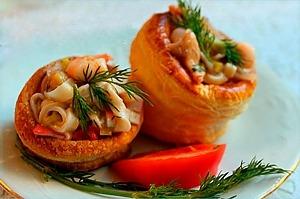 Волованы с морепродуктами