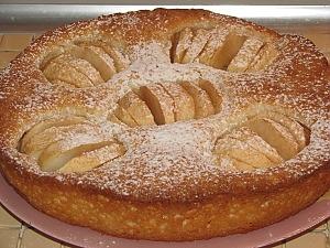 Простой пирог с творогом и яблоками
