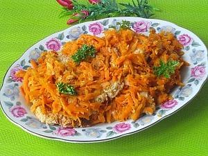 Минтай по-гречески с овощами