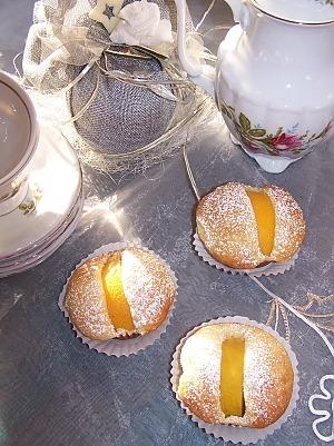 Маффины с консервированными персиками на кефире