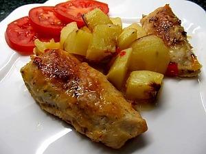 Куриные рулетики запеченные с картофелем