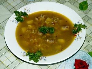 Гречневый суп с печенью