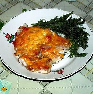 Морской язык, запеченный с сыром