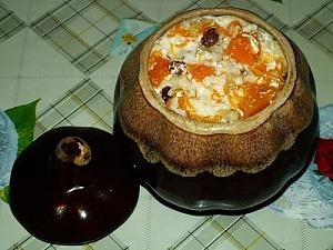 Каша из тыквы с рисом и яблоками