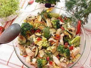 Запеканка из макарон с рыбой и овощами