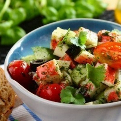 Салат с крабовыми палочками без майонеза