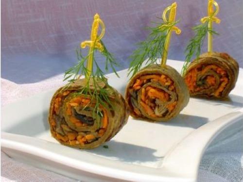 Печеночные рулетики с морковью