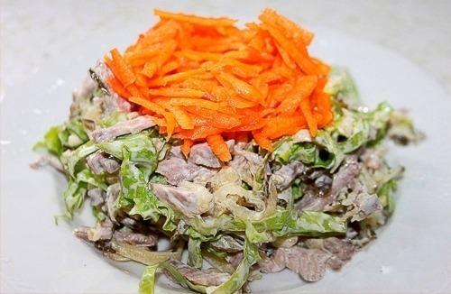 Салат из свиного языка с соленым огурцом и тыквой