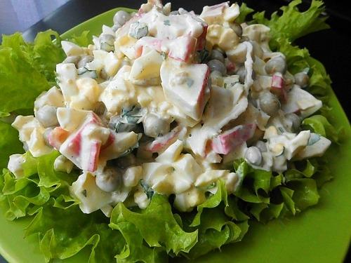 Салат с горошком и крабовыми палочками рецепты