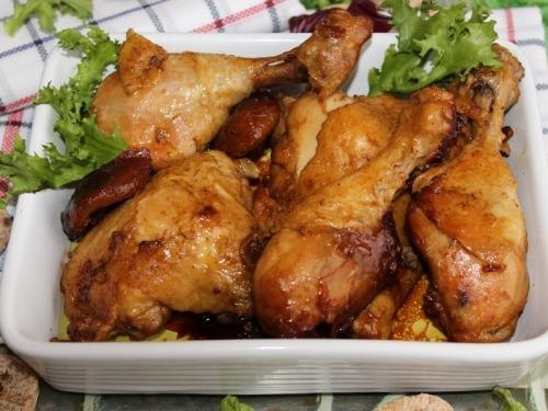 Куриные окорочка с инжиром в рукаве